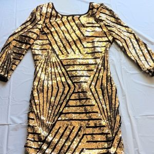 Mini Gold Sequence Party Dress, size L